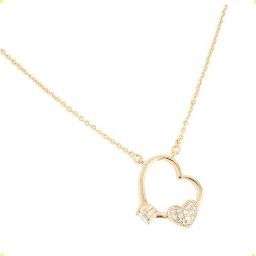 Fino Dije Collar Corazón Con Piedra Compromiso Oro Lamin