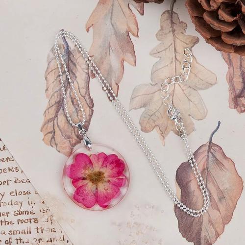 Hermoso Collar Naturaleza Encapsulada Flor Precio Mayoreo