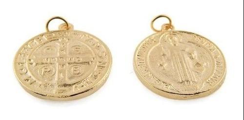 Medalla De San Benito Chapa De Oro14k 1 Cm Bisuteria 60 Pz