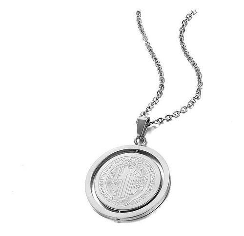 Medalla San Benito Y Collar Doble Vista Chapa Plata