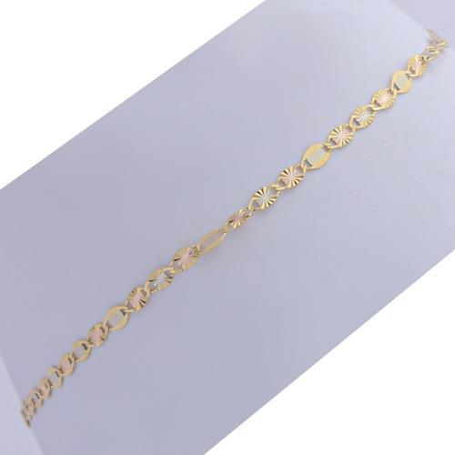 Pulsera Brazalete Pulso Tejido Espejo En Oro Solido De 14 K