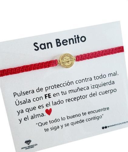 Pulsera Hilo Rojo Tejida Medalla San Benito Proteccion