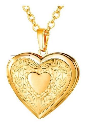 Relicario Portaretrato Corazón Oro Laminado Envío Gratis