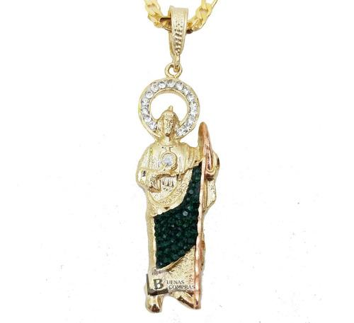 San Judas Tadeo 7.5cm Baño De Oro Con Cadena