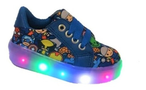 Tenis Niño Luces Led Spiderman Super Heroes Avengers Azul