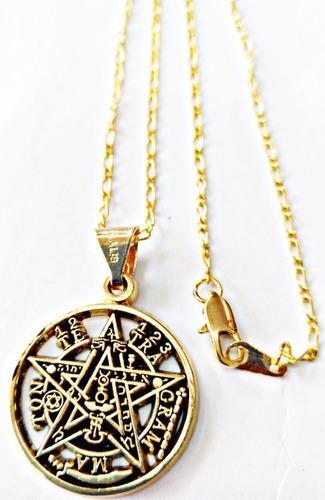 Tetragramaton O Pentagrama En Chapa De Oro Con Cadena Chapa