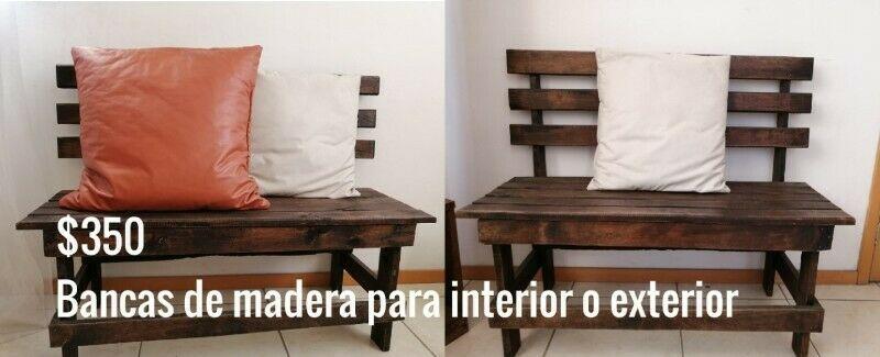 VENDO BANCAS DE MADERA $350