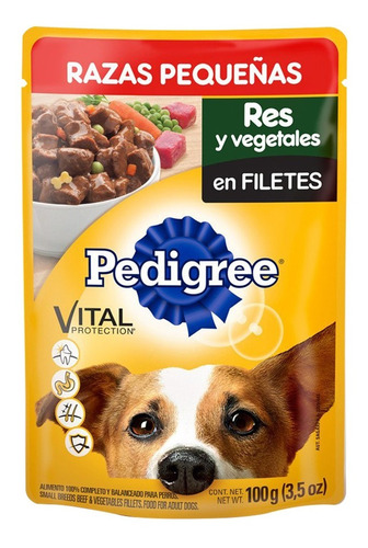 Alimento Para Perro Pedigree Res Y Vegetales Adulto 100 Gr