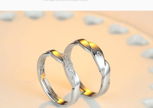 2 Anillos Promesa Plata 925 Amor Parejas Novios Cristales