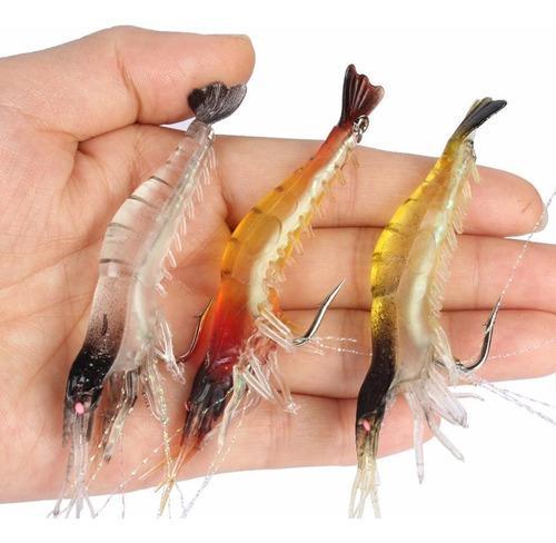 3 Pzas Señuelo Pesca Camarón Anzuelo 9cm