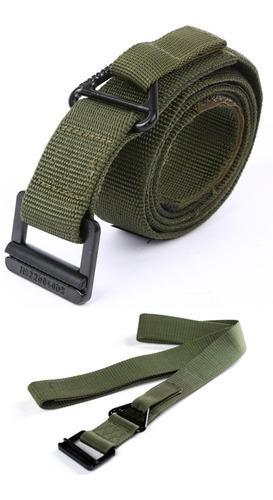 Cinturon Tactico Militar Verde Rapel Hebilla Metalica