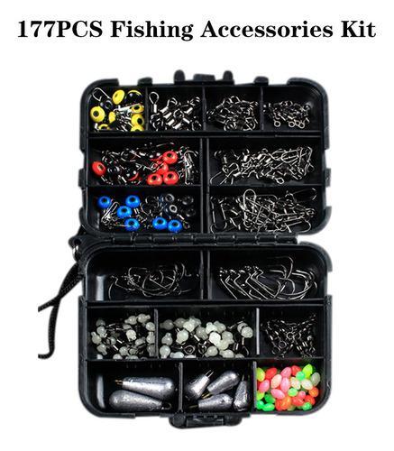 Kit De Accesorios De Pesca 177 Piezas Con Caja