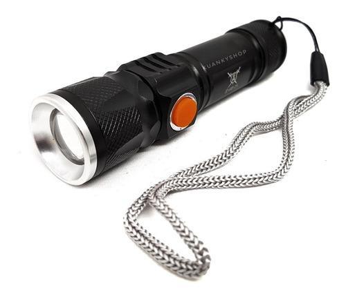 Lámpara Led Cree T6 2500lm Con Zoom Recargable Vía Usb