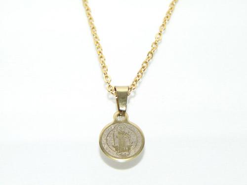 Collar Medalla San Benito Acero Doble Vista Colores A Elegir