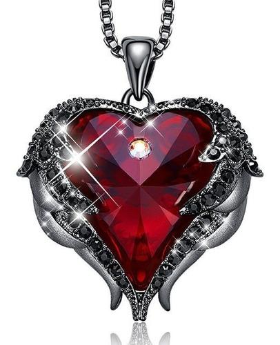 Grande! Collar Corazon Rojo Alas Angel Regalo Amor Swarovski
