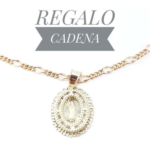 Hermosa Medalla Virgen Oro 10k Y Cadena Bautizo Dije