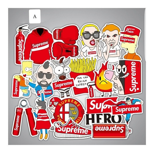 Supreme 50 Calcomanias Stickers Rojas O Negras Skate Roller