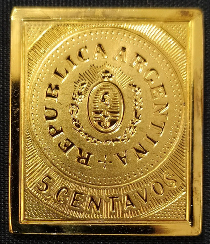 Argentina Primer Timbre Lingote Plata Chapa Oro Fotos Oportu