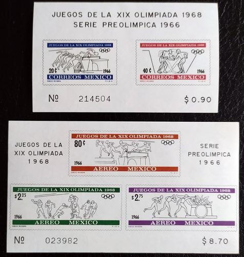 Mexico  Olimpiadas 68 Set Hojitas Souv. Diego Rivera