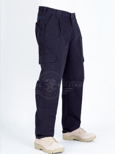 Pantalon Tactico Militar Azul Multibolsas Cargo Recto