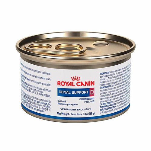 Royal Canin Alimento Renal Support D Gato Paq 6 Latas 85 Gr*