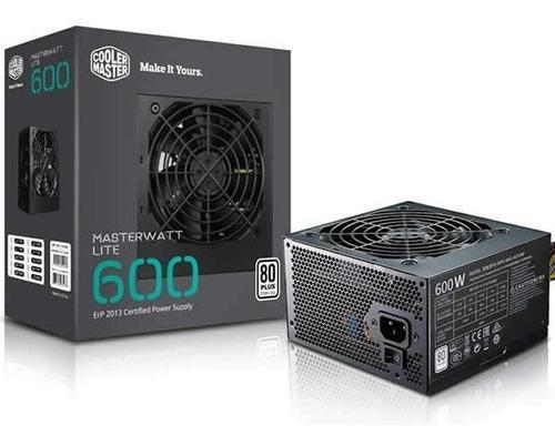 Fuente De Poder Cooler Master Masterwatt Lite 600w Gamer 80+