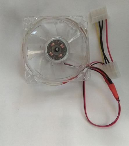 Ventilador Pc 80mm Luzled Halo Rojo/verde, Molex 4 Pines 12v