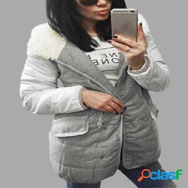 Abrigo con capucha y cremallera de manga larga blanca con