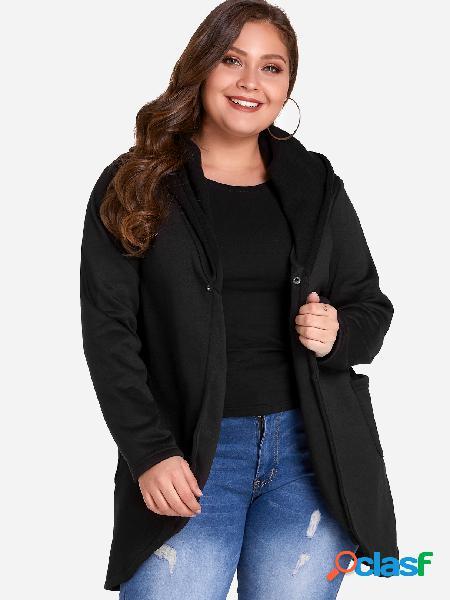 Abrigo de lana con capucha con un solo botón, talla grande,
