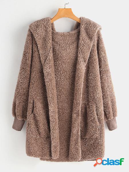 Abrigo de piel sintética con capucha de tamaño extra