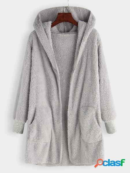 Abrigo de piel sintética con capucha gris talla grande