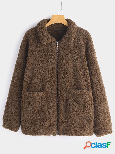 Abrigo de piel sintética con diseño de bolsillo de tamaño