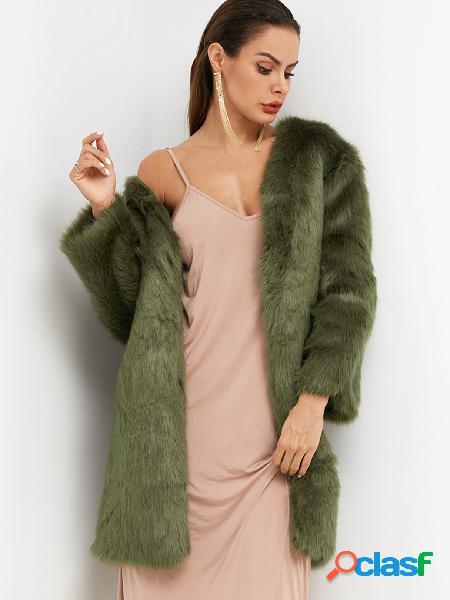 Abrigo de piel sintética de manga larga verde liso