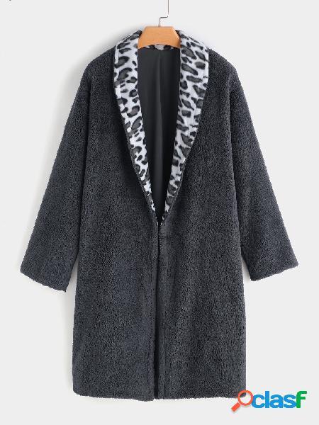 Abrigo de piel sintética gris manga larga cuello manga