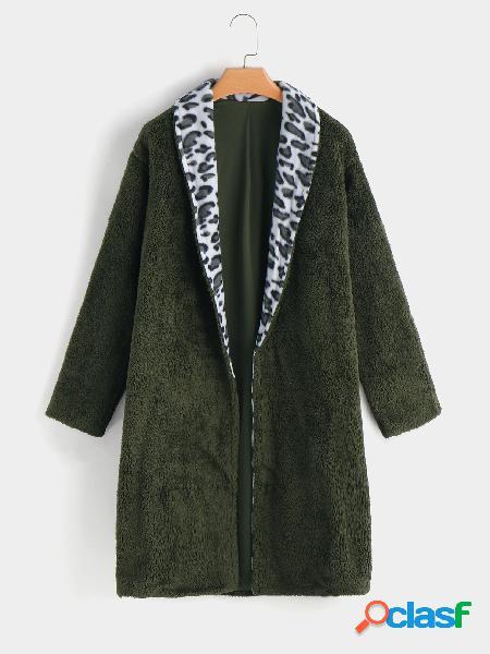 Abrigo de piel sintética mangas largas con cuello de solapa