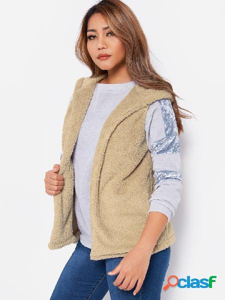 Abrigo de piel sintética sin mangas con diseño de capucha