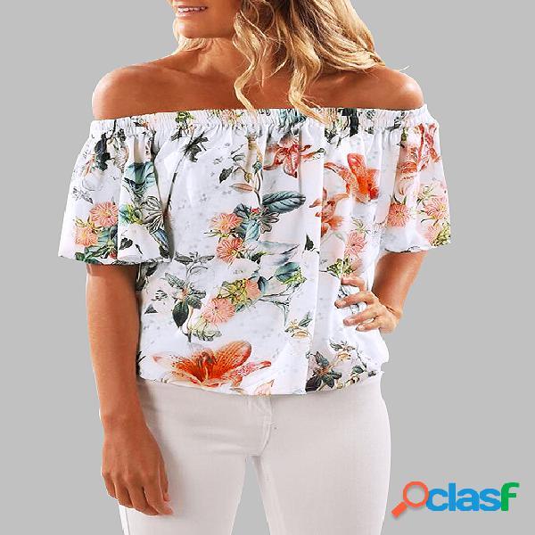 Al azar de impresión floral elástica de la blusa de los