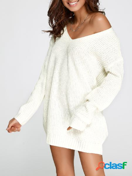Blanco Oversized Plunging V-cuello jersey de punto vestido