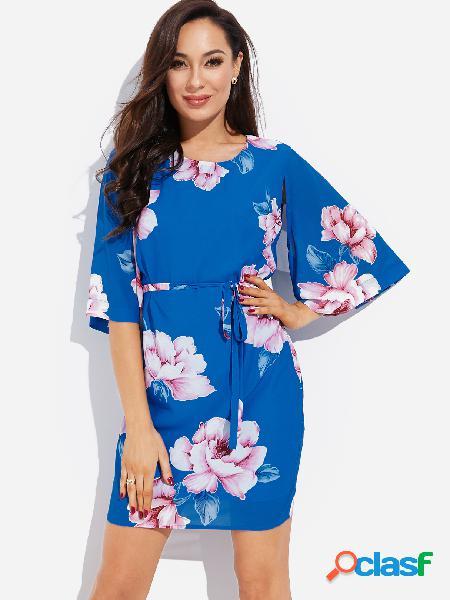 Blue Self-tie Design estampado floral al azar cuello redondo