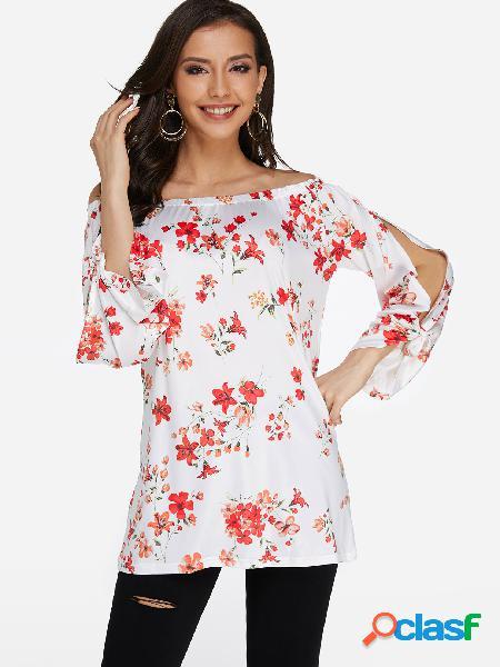 Blusa de moda con estampado floral blanco