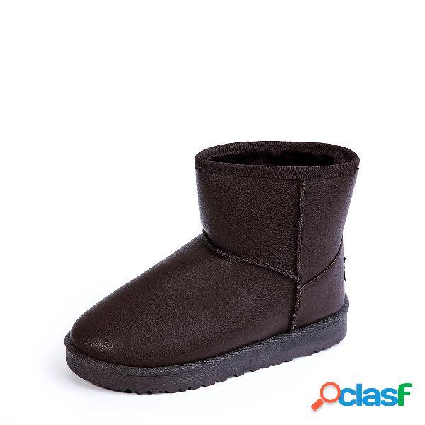 Botas de nieve casuales con forro de piel de café