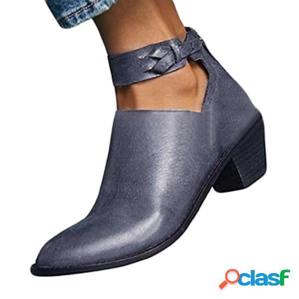 Botas de tacón grueso vintage grises oscuros recorte botas