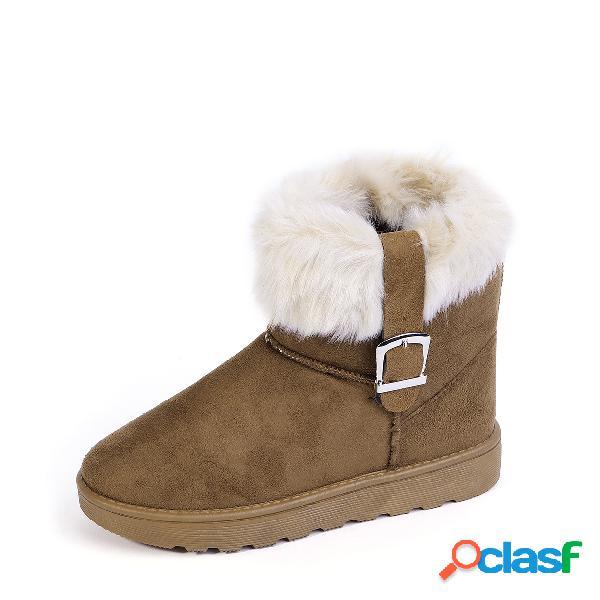 Botas para la nieve con hebilla de piel de ante marrón
