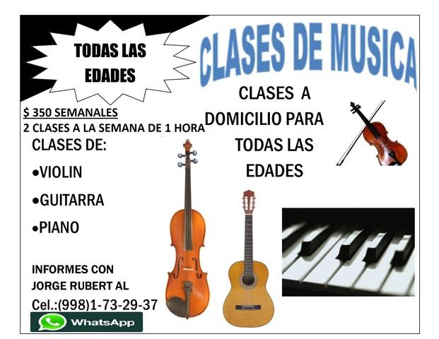 CLASES A DOMICILIO DE: VIOLIN, GUITARRA Y PIANO