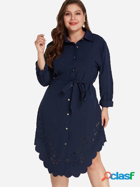 Camisa de corte ceñido con estampado de láser azul tamaño