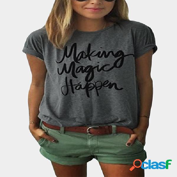 Camiseta básica de impresión con letra redonda en gris
