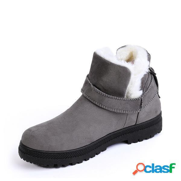 Cinturón gris decorado con forro de piel cálida botas de