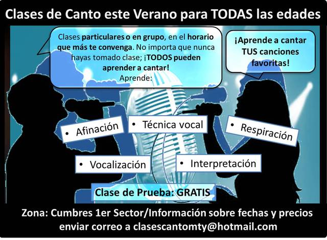 Clases de Canto para TODAS las edades en Monterrey.