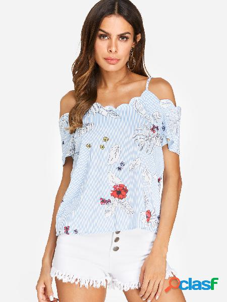 Correa de espagueti azul estampado floral blusas de hombro