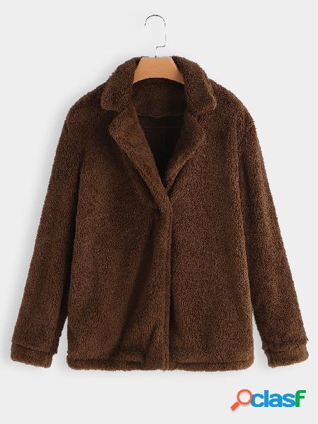 Cuello de solapa marrón manga larga abrigo de piel